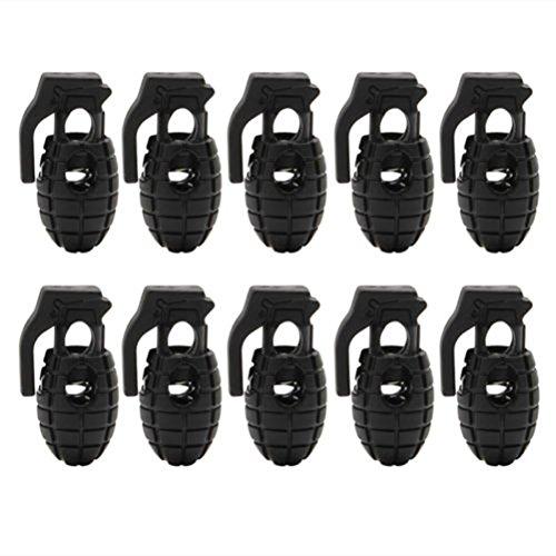 VORCOOL 10 stücke Schnürsenkel Schnalle rutschfestPlastic Cord Lock Stopper Paracord (Schwarz)