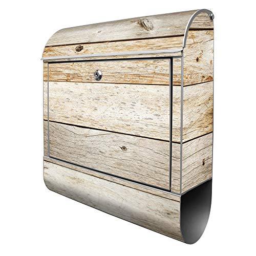 Banjado Design Briefkasten mit Motiv Graues Holz | Stahl pulverbeschichtet mit Zeitungsrolle | Größe 39x47x14cm, 2 Schlüssel, A4 Einwurf, inkl. Montagematerial