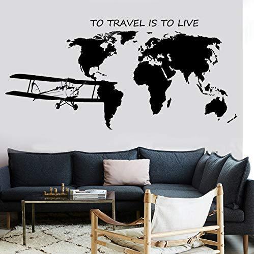 Muursticker woonkamer sticker muursticker kaart Atlas vliegtuig te reizen is te leven nagel stivker vinyl 88X42cm