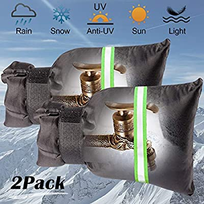 """Outdoor Faucet Covers for Winter, Garden Faucet Socks 5.9"""" W x 7.9"""" H with Reflective Strips- Anti-Freeze Reusable Faucet Cover Set, Waterproof & Heat Preservation (2 PCS)"""