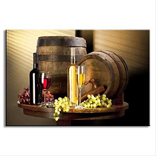 LWJZQT Oningelijst Stilleven Wijnflessen Muur Kunst Schilderen Rode Wijn En Champagne Met Glas Fruit Vat Beeld Voor Keuken