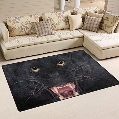 COOSUN zwart luipaard gebied tapijt antislip vloermat deurmatten voor woonkamer slaapkamer 31 x 20 inch