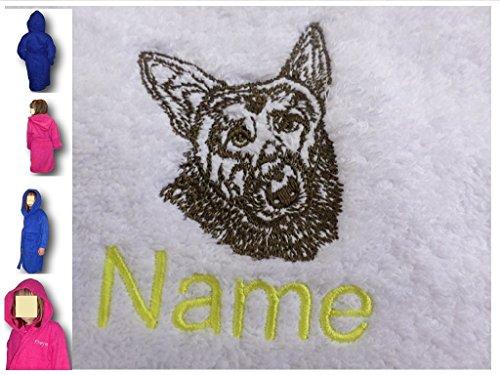 EFY Peignoir à capuche pour enfant avec logo Berger allemand et nom au choix Rose 2, 4, 6, 8, 10 ou 12 ans