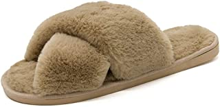 LYLCC New Warm Home Slippers - Fashion Wild Lazy Cotton Shoes Fluffy Faux Fur Warm Shoes Non-slip Flat Shoes Spring And Autumn Winter House Shoes (Color : Khaki, Size : 6.5)