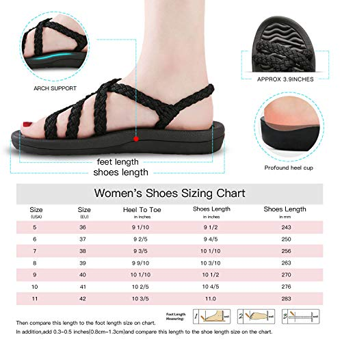Comfortable Hiking Sandals for Women, Arch Support Slide Sandals for walking, Lightweigh Warerproof Beach Sandals for Vacation/Pool/Lake black size 8