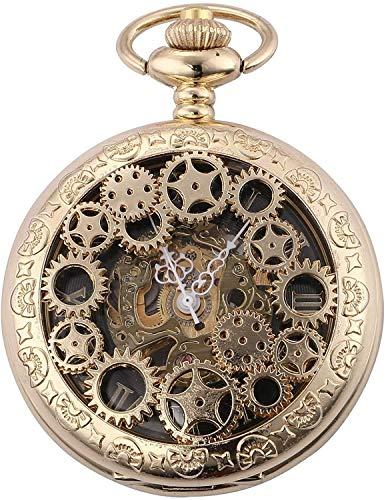 HCFSUK Reloj de Bolsillo clásico y Elegante.Reloj de Bolsillo nostálgico Retro Mecánico Diseño Creativo Dial Grabado con números Romanos Cadena Hecha a Mano Reloj de Bolsillo Reloj para Hombre con