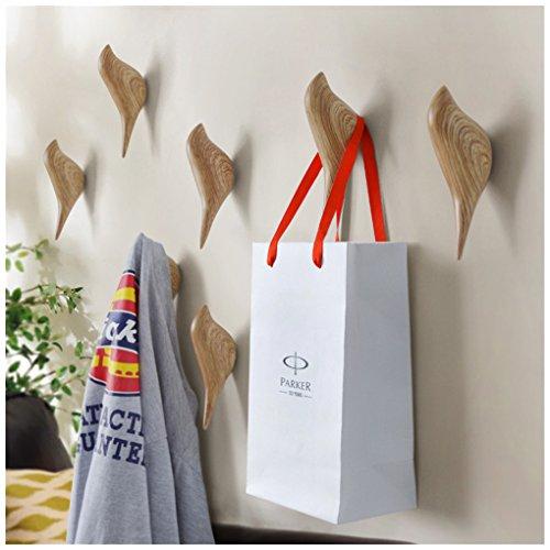 HyFanStr Vogel Dekorative Wandhaken, Kleiderhaken Wand Mantelhaken, 2 pcs, Holzmaserung