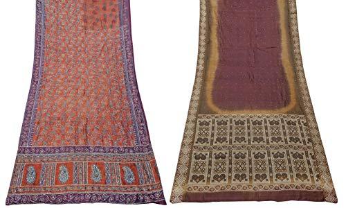 Peegli Lote Vintage Indio De 2 Piezas Sari Mujeres Indio Utilizado Material De Bricolaje 100% Puro Vestido De Seda Paquete Combinado De Tela Seda Pura Sari 5 Yardas Largas Telas Textiles