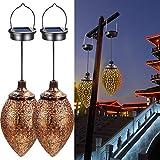 2PCS Hanging Solar Lights Solar-Powered Lantern LED Garden Lights Metal Lamp...