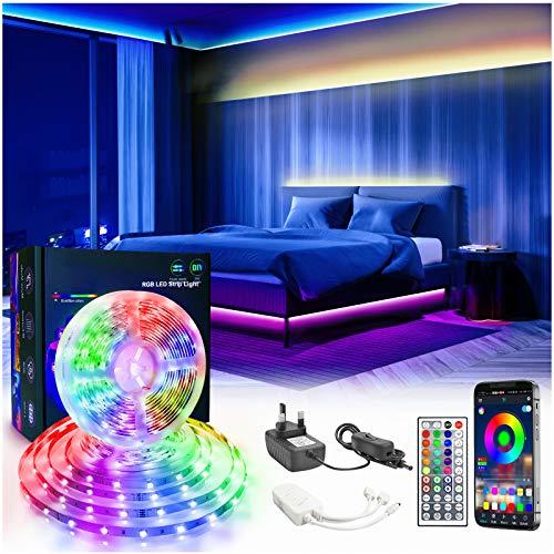 Unisun Led Strip RGB 6m(2 * 3m),RGB Led Streifen Mit Ir Fernbedienung Und Bluetooth Kontroller Sync Zur Musik,Led Lichtband Steuerbar Via App, Für Die Beleuchtung Von Haus, Party, Christmas