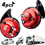 4 Piece 300DB Loud Train Horn for Truck Electric Snail Horns 12V High and Low Tone Horns Waterproof Auto Horn Loud Air Electric Snail Single Horns with Brackets and Screws for Car Motorcycle