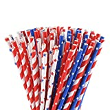 ALINK American Flag Red Blue White Paper Straws, 100 Stripe/Star Biodegradable Straws for Memorial Day /4th of July, Super Bowl, Patriotic Party, Americana Themed Party Celebration and Holiday