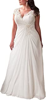Women's Elegant Applique Lace Wedding Dress V Neck Plus Size Beach Bridal Gowns