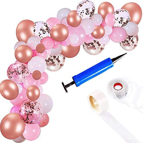 Ballon Bogen Girlande Kit | Rosafarbenes Rosen-Gold weiße Luftballons in verschiedenen Größen | Dekorationen für Parteien, die Babyparty-Abschluss Wedding sind | Beinhaltet Glue Dots Strip Inflator