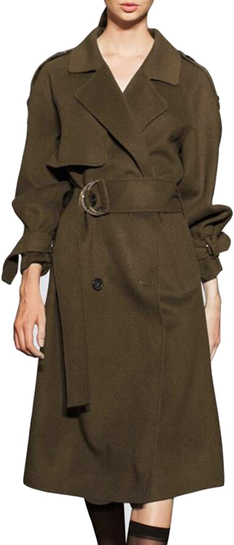 GAGA Women's With Belt Long Woolen Coat Trench Outwear