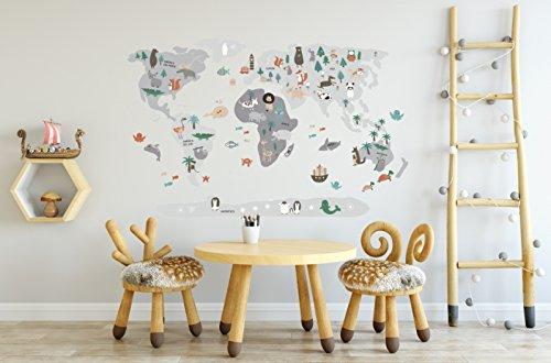 Menudos Cuadros Vinilo Decorativo Infantil mapamundi Gris de Animales (Grande 150cmx90cm)