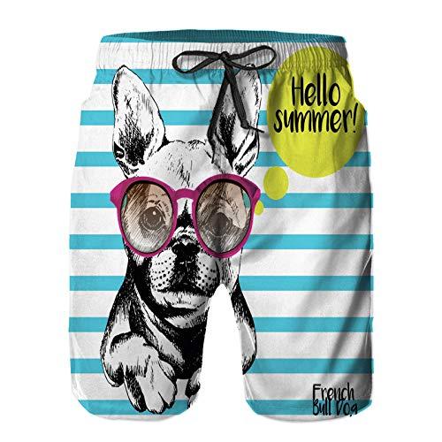 Bañador De para Hombre Pantalones Playa Shorts, Retrato de Bulldog Francés con Las Gafas de Sol Brillante Hola Verano Perro doméstico Cerulean Secado Rápido Ligero Baño Cortos XL