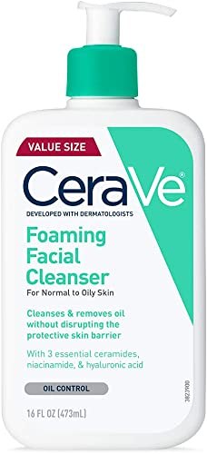 CeraVe Foaming Facial Cleanser, Makeup Remover and Daily Face Wash for Oily Skin, Paraben & Fragrance Free, 16 Fl Oz