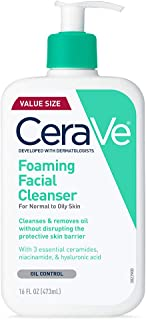 CeraVe Foaming Facial Cleanser for Daily Face Washing, Normal to Oily Skin, 16 oz