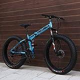DYB All-Terrain-Mountainbike, Mountainbike, schnell zusammenklappbares 26-Zoll-Fahrrad mit doppelter Stoßdämpfung aus Kohlenstoffstahl 27-Gang 4.0 Super-Breitreifen-Offroad-Getriebe