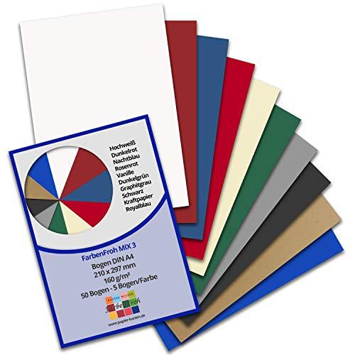50 DIN A4 Papier-bögen Farbenmix-Paket 3 - Planobogen - 10 Farben - 160 g/m² - 21 x 29,7 cm - Bastelbogen Ton-Papier Fotokarton Bastel-Papier Ton-Karton - FarbenFroh