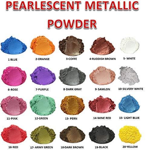 50 gr Pigment en poudre nacrée pour résine époxy, polyuréthane, émaux, pour la décoration des ongles, des sols, des pigments en poudre (15. LIGHT BLUE PEARL)