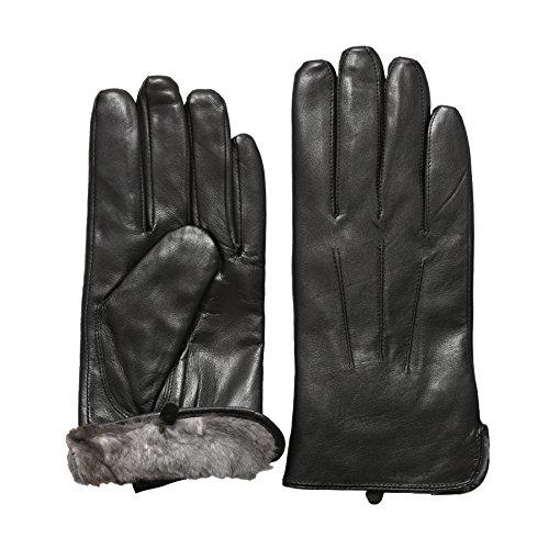Rob Riverdale Men's Luxury Rabbit Fur Lined Genuine Soft Black Leather Gloves (LARGE)