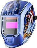 DEKOPRO Welding Helmet Auto Darkening Solar Powered Hood with Adjustable Shade Range 4/9-13 for TIG MIG ARC Welder Mask Welder Mask (Blue Eagle)