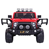 VALUE BOX Safety 12V Battery Electric Remote Control Car, Kids Toddler Ride On Cars Motorized Vehicles Toy Car, Wheels Suspension, Seat Belts, LED Lights and Realistic Horns (Red)