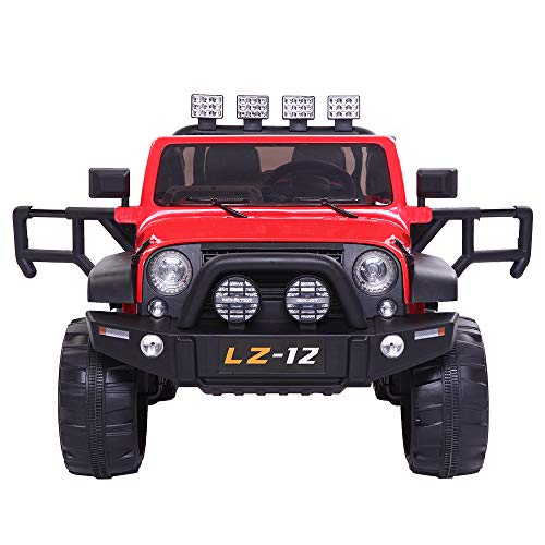 VALUE BOX Safety 12V Electric Two Seaters Ride On Car  Remote Control Kids Toddler Ride On Cars Motorized Vehicles Toy Car  Wheels Suspension  Seat Belts  LED Lights and Horn (Red)