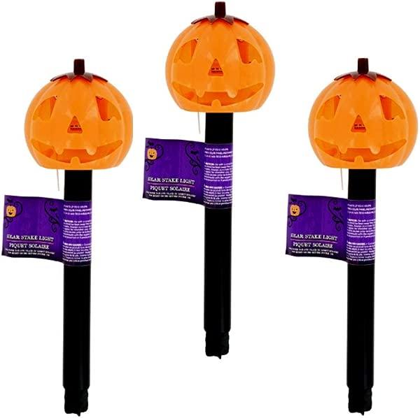 DT Halloween Solar Path Lights Set 3 JackoLantern Pumpkins