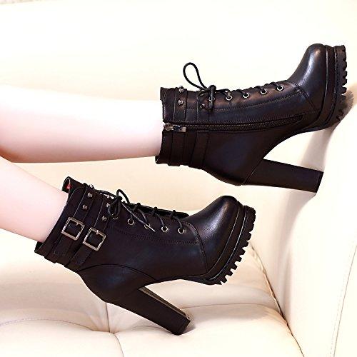 Shukun enkellaarzen herfst en winter dik met Martin laarzen Women'S laarzen met hoge hakken klinknagels gepersonaliseerd Women'S laarzen