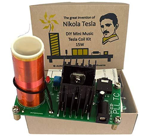 Aumed Kit Mini Bobina Musicale Tesla Mini Music Tesla Coil Fai-da-Te DIY 15W Tesla Coil Vintage Gold