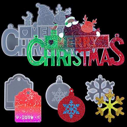 Merry Christmas Sign Resin Molds and 3 Pieces Christmas Theme Silicone Resin Molds Set-Pendant Epoxy Resin Casting Mold with Snowflake Love Tag for Making Xmas Tree Ornament DIY Craft Decoration