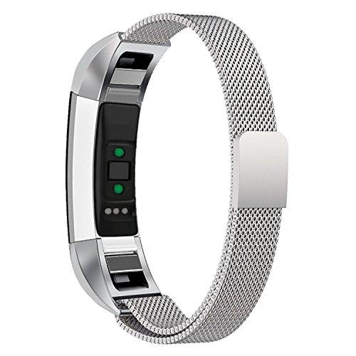 Mangoo Armband für Fitbit Alta HR und Fitbit Alta, Verstellbarer Edelstahl Uhrenarmband Mailänder Magnetschleife Edelstahlband Ersatz Armband Für Fitbit Alta HR und Alta (Silber)