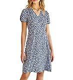 GRACE KARIN Womens Casual Summer A-line Printed Dress Wear to Work Blue Daisy Pattern XL