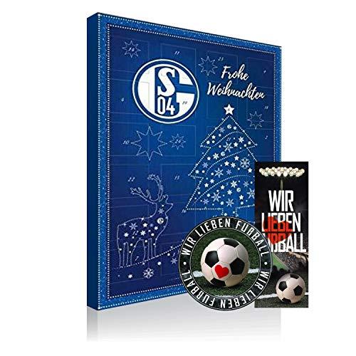 FC Schalke 04 Adventskalender, Weihnachtskalender, Schoko Kalender S04 + Lesezeichen & Aufkleber Wir lieben Fussball