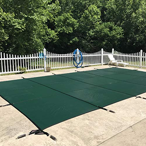 WaterWarden Inground Pool Safety Cover, Fits 20' x 44', Green Mesh – Easy Installation, Triple Stitched for Max Strength, Includes All Needed Hardware, SCMG2044