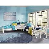 Rosebery Kids Twin L-Shaped Corner Platform Bed Frame in White