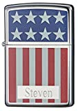 Free Engraving in Roman Block Font; One Line of Text up to 8 Characters American Flag Color Imaged on High Polish Chrome Finish Flint Ignition; Windproof Flame; Signature Zippo Click Dimensions: (L) 2.25 in x (W) 1.5 in x (H) 0.5 in Made in the USA; ...