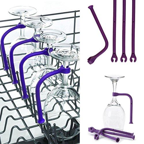 4Pcs Goblet Holder - Adjust Silicone Wine Glass Dishwasher Goblet Holder Safer Stemware Saver - Cabinet Display Hanging Shelf Stemware Racks Wine Glass Holder,Goblet Rack