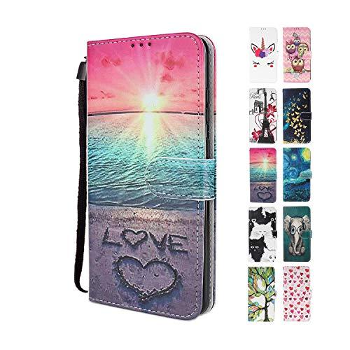 UCool für Samsung Galaxy A20e Hülle PU Leder Flip Klappbar Lederhülle Schutzhülle 3D Liebe Strand Bunt Muster Wallet Cover Flip Case Handyhülle mit Kartenfach Tasche Etui