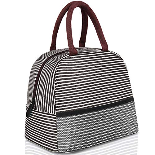 Insulated Lunch Box, Brown Stripe Reusable Food Insulated Lunch Bags Tote with Cold Heat Preservation for Kids Students Adults Men Women