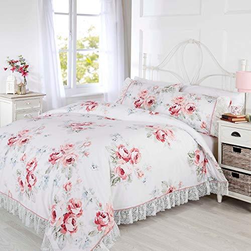 Bedding Heaven EVELYN Vintage Floral Duvet Cover Set with Lace Trim. PINK (Single)