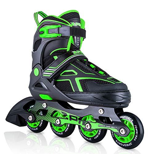 2pm Sports Torinx Green Black Boys Adjustable Inline Skates, Fun Roller Blades for Kids, Beginner Roller Skates for…