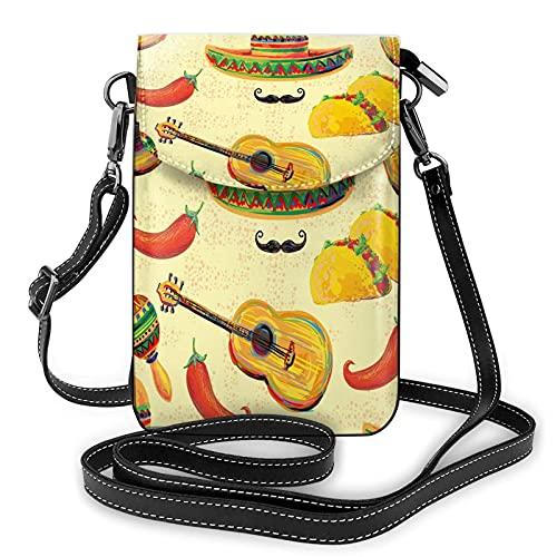 AOOEDM Mexiko Umhängetasche für Frauen Männer, mexikanischer Sombrero Hut Schnurrbart Maracas Taco Chill Pepper Gitarre PU Leder Umhängetasche Handytasche