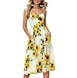 Nantersan Women's Sunflower Dress Summer Spaghetti Strap Sundress Floral Midi Backless Button Up Swing Dresses with Pockets Beige (Apparel)