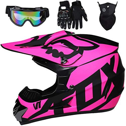 Aidasone YEDIA-01 Casco de moto para niños, desmontable de cara completa con diseño FOX, juego de casco de motocross para niños y adultos con gafas/máscara/guantes, negro morado, XL