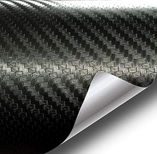 VViViD XPO Dry Deep Black 3D Carbon Fiber 5 Feet x 1 Foot Vinyl Wrap Roll with Air Release Technology