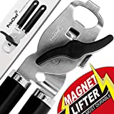 Can Opener Manual No-Trouble-Lid-Lift | Best Can Opener Smooth Edge | Ultra Sharp & Safe 4in1 Stainless Steel Can Opener for Bottle/Tin - Ergonomic Long Handle Ideal for Seniors with Arthritis, Black…